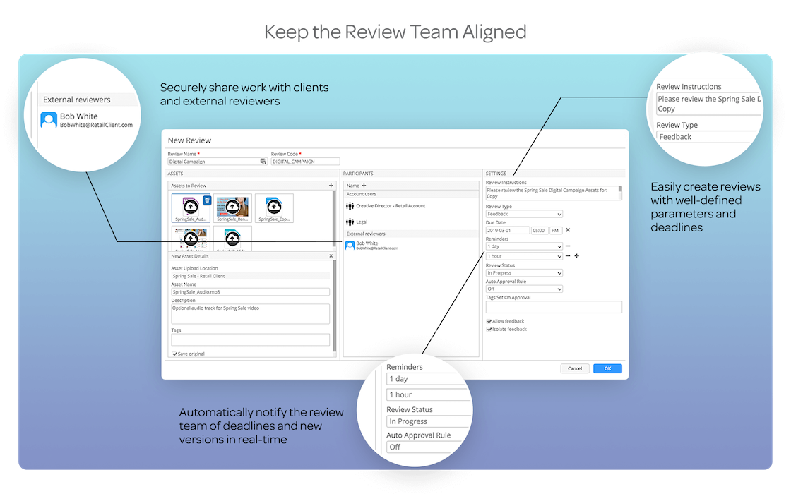 KEEP THE REVIEW TEAM ALIGNEDCreate reviews with well-defined parameters, deadlines, automatic reminders and notifications. Keep internal/external reviewers and clients on the same page at all times