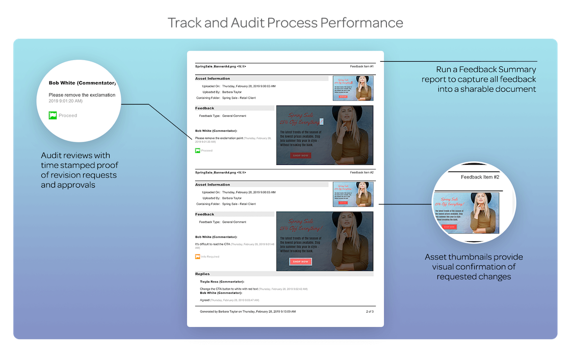 TRACK AND AUDIT PROCESS PERFORMANCEMeet brand compliance policies by keeping a detailed history of every markup, comment, review and approval